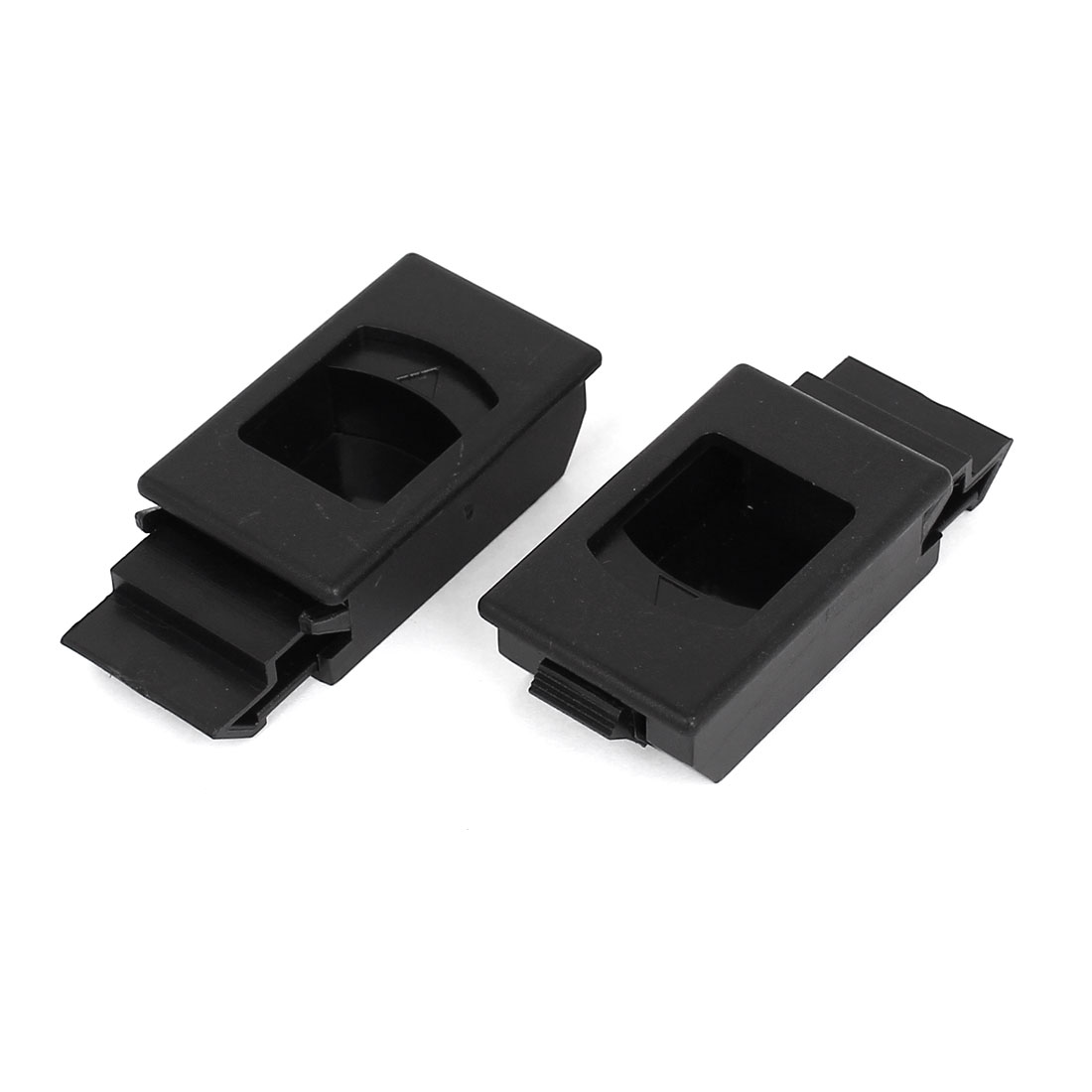 Window Door Cabinet Lock Black Plastic Recessed Flush Sliding Pull Latch 2pcs