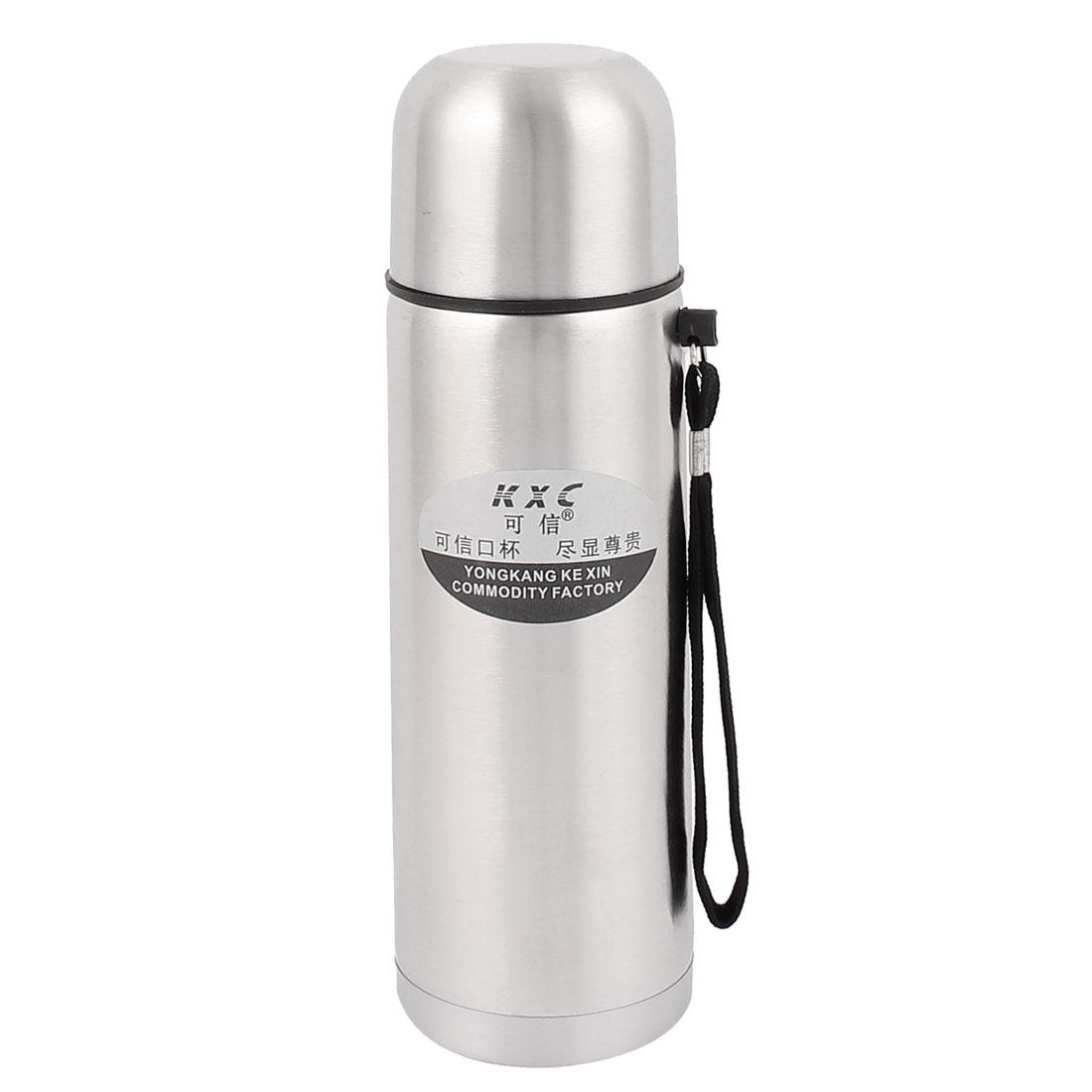 Travel 500ml Vacuum Heat Retaining Flask Water Stainless Steel Bottle w Strip