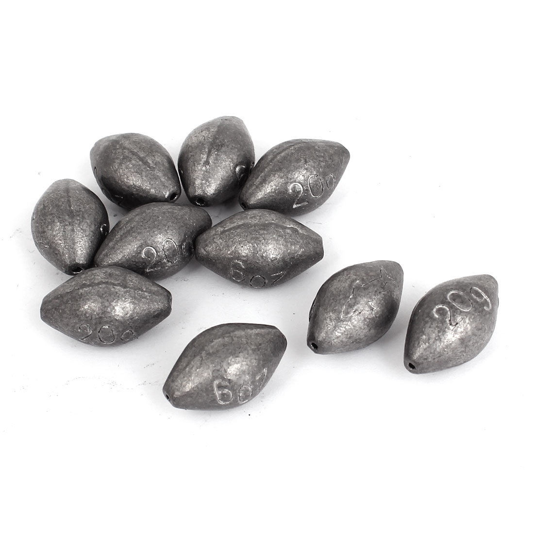 10 Pcs Gray Oval Shaped Lead Weight Sinker Fishing Split Shot 20g Per Piece