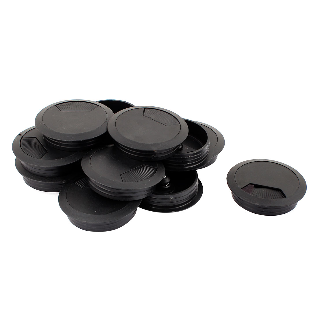 Office Desk Plastic Cable Cord Organizer Grommet Hole Cover Black 60mm Dia 12Pcs