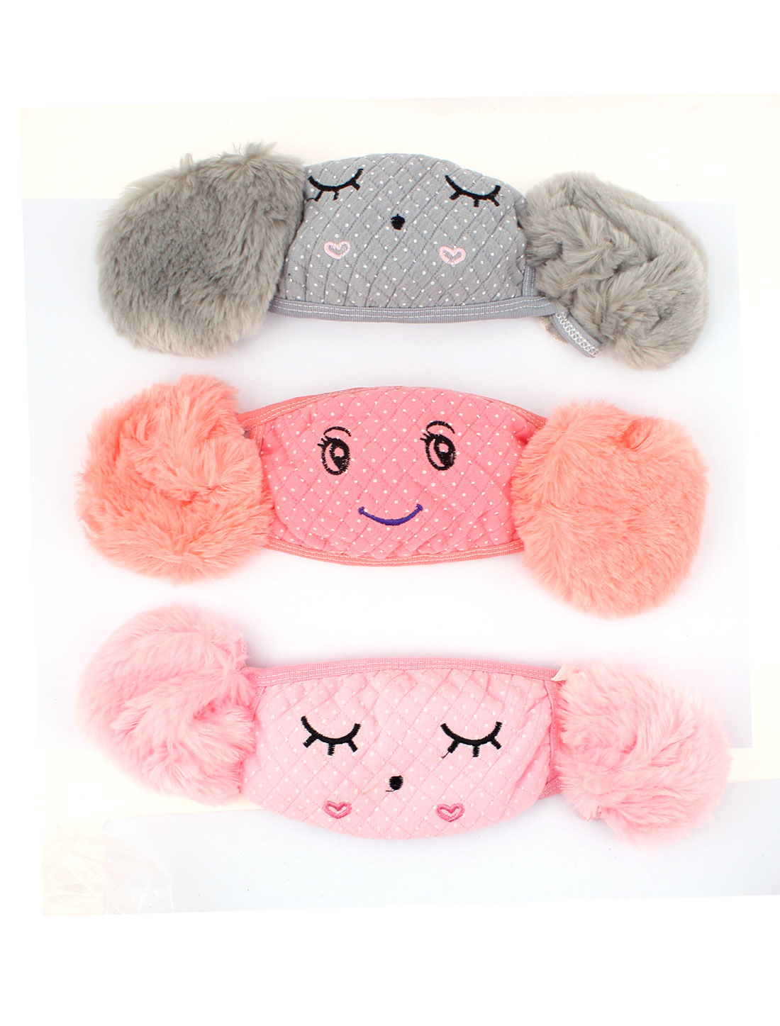 3Pcs Plush Earmuffs Eyebrow Print Dotted Anti-dust Earloop Face Mask