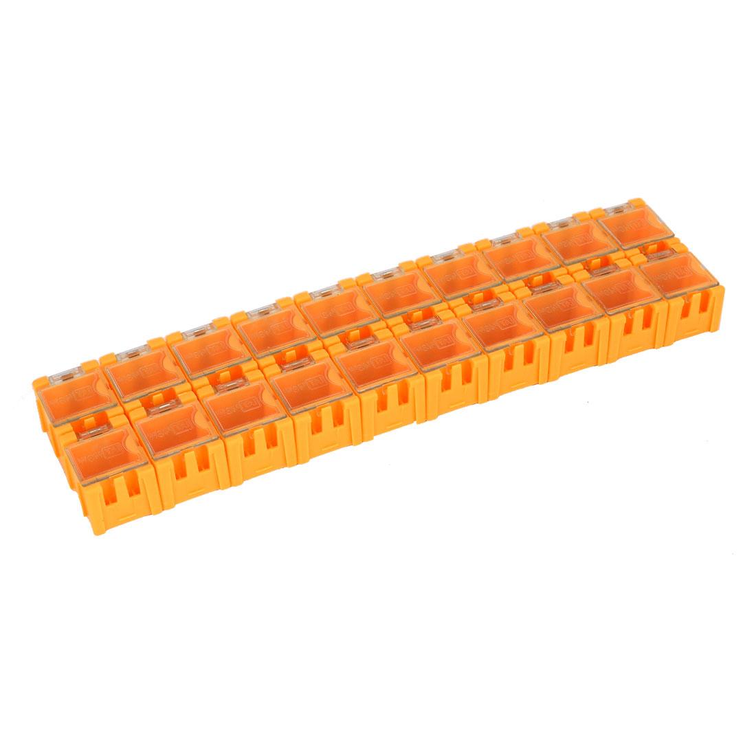 20Pcs Orange Rectangle SMT SMD Electronic Components Storage Box Case Organizer