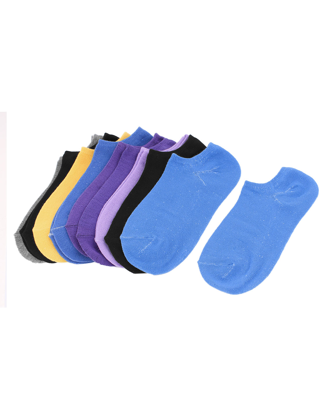 Women Stretchy Pure Cuff Short Low Cut Ankle Hosiery Socks Teal 8 Pair