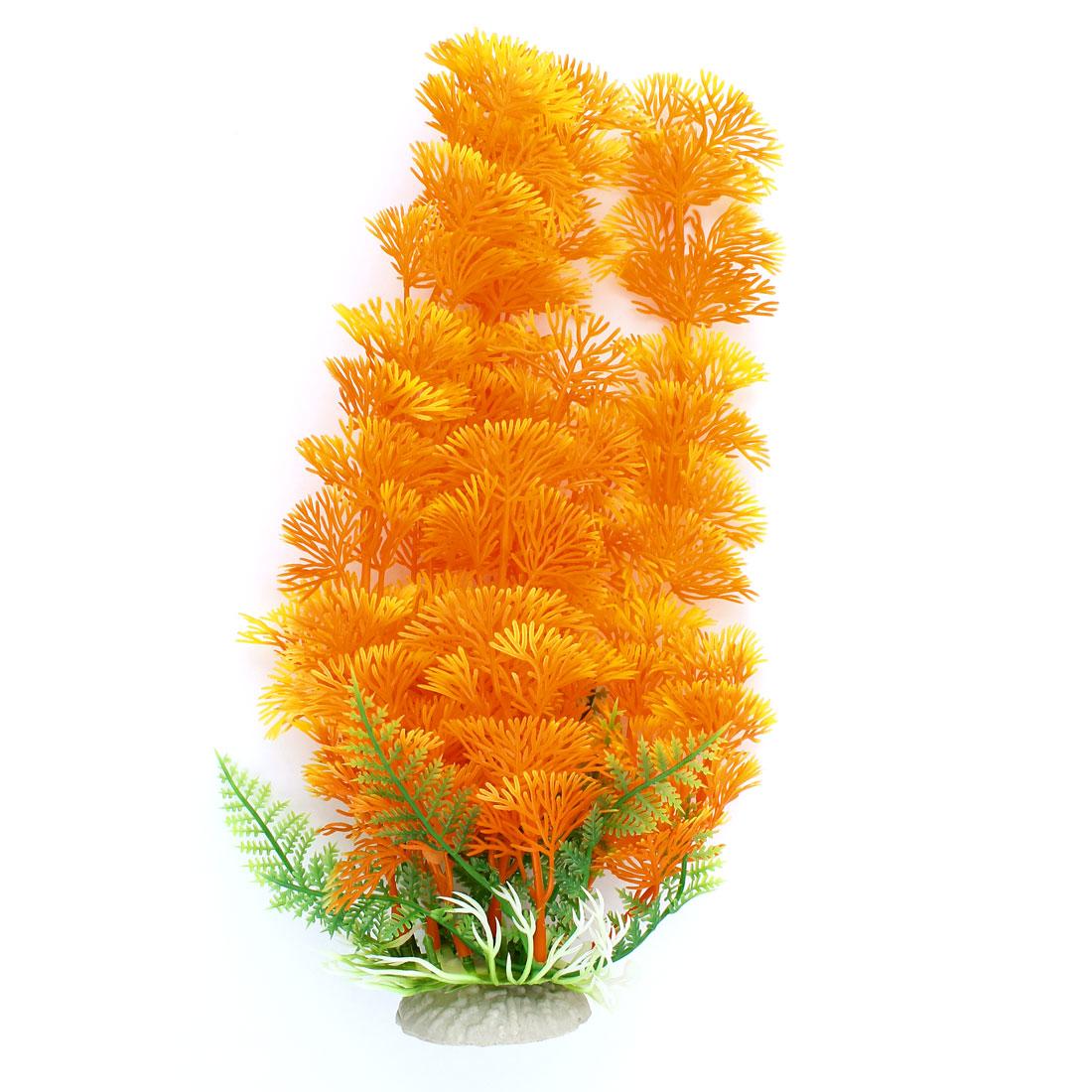 28cm Height Aquarium Fish Tank Artificial Underwater Water Plant Orange Yellow