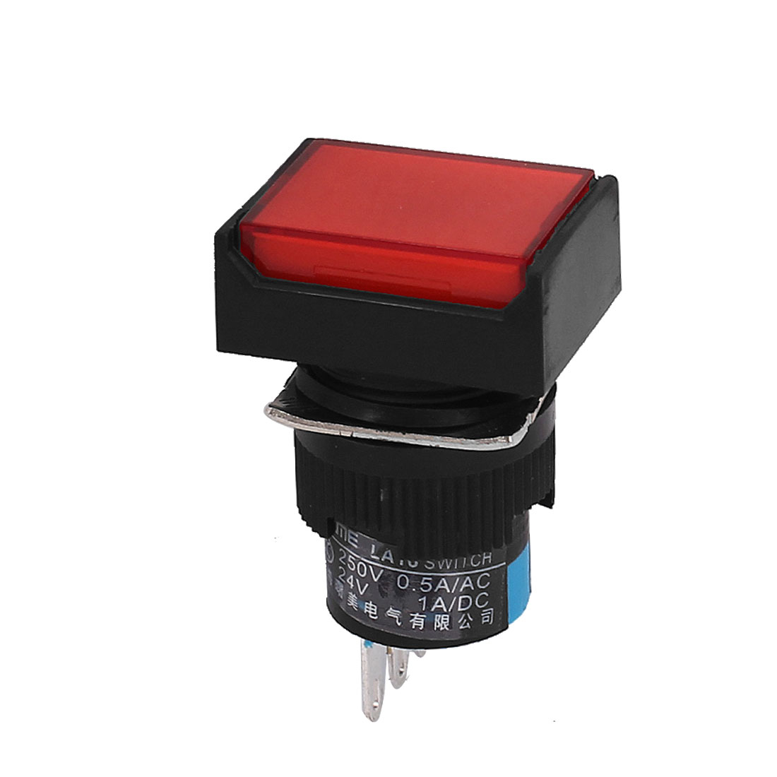 Self Locking NO NC AC 250V 0.5A 3 Pins Terminals Red Pushbutton Switch