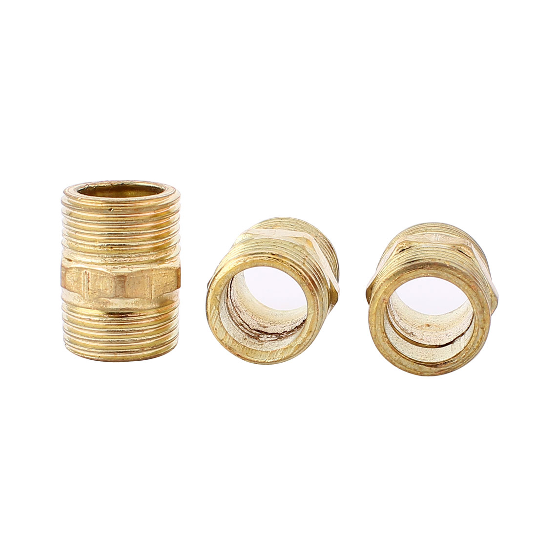 3Pcs Gold Tone Brass 1/2BSP x 1/2BSP Male Hex Nipple Connector Adapter 27mm Long