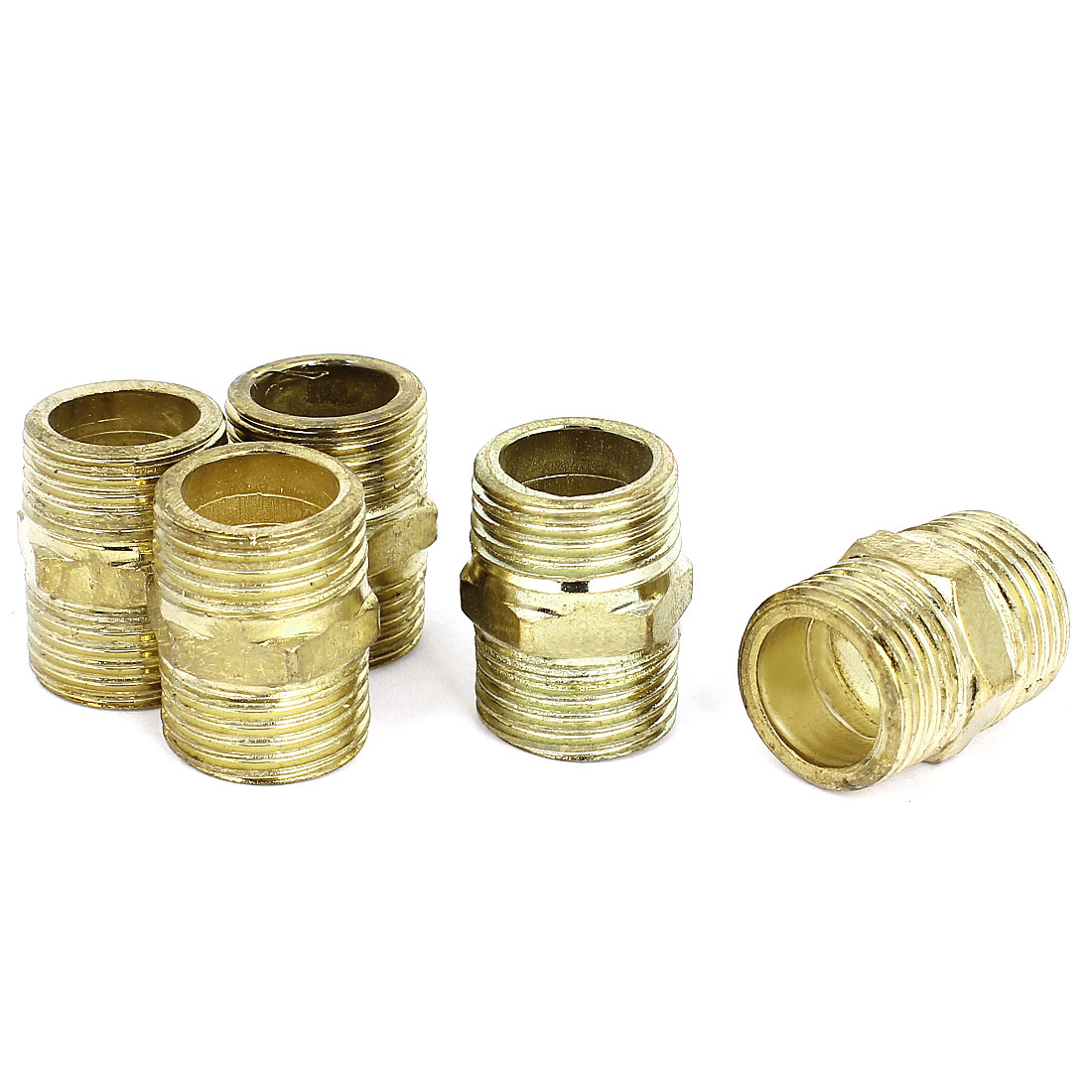 5Pcs Gold Tone Brass 1/2BSP to 1/2BSP Male Thread Hex Nipple Connector Fitting