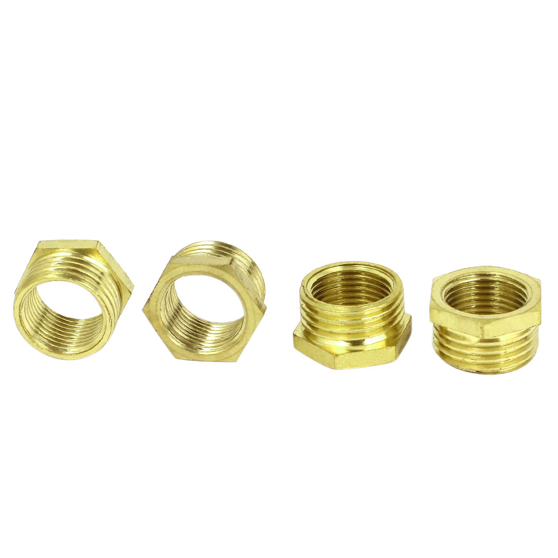 3/8BSP x 1/2 BSP M/F Threaded Hex Head Gold Tone Brass Bushing Piping Fitting Connector 4Pcs