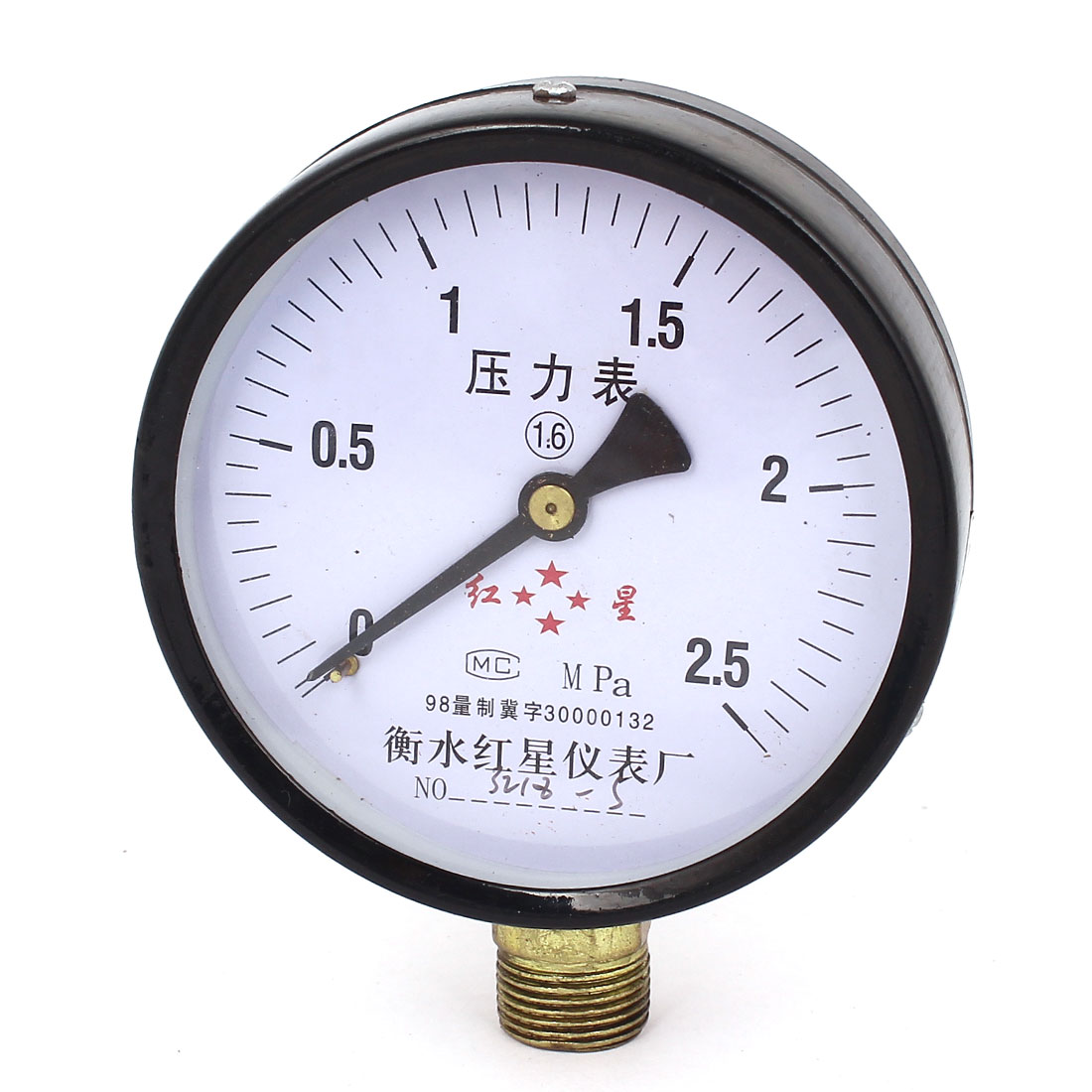 1/2BSP Male Threaded 9.8cm Dia 0-2.5MPa Pneumatic Air Gas Pressure Gauge