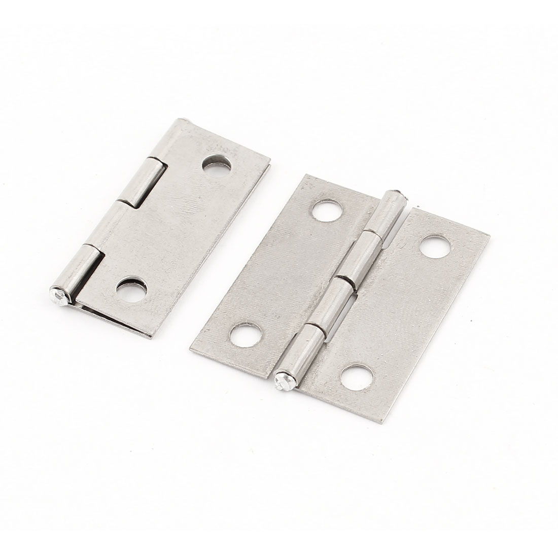 "2 Pcs Stainless Steel Butt Cabinet Gate Closet Door Hinge Silver Tone 1.4"" Long"