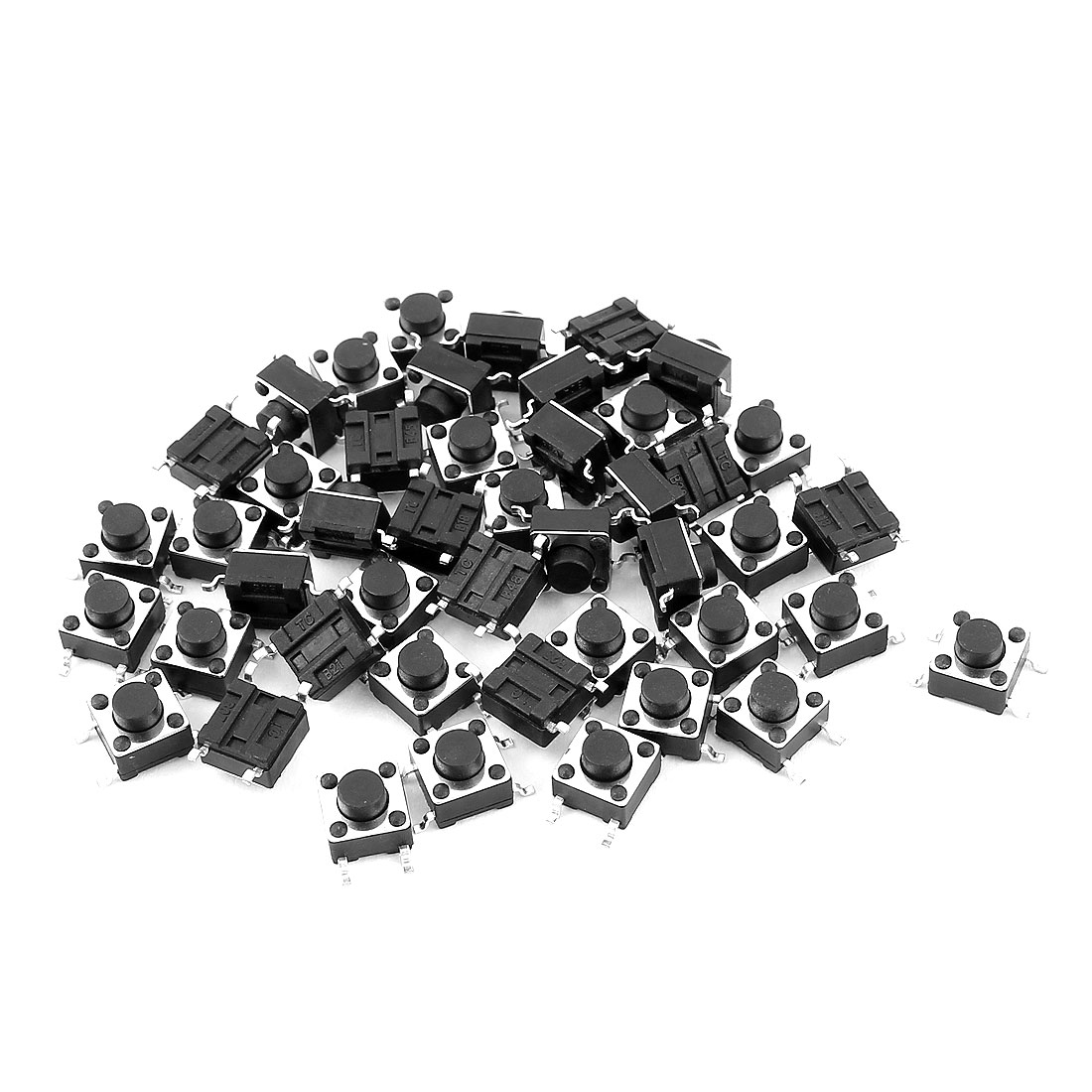 45Pcs 6x6x5mm 4 Pins Panel PCB Mount Momentary Tactile Tact Round Push Button Switch Black