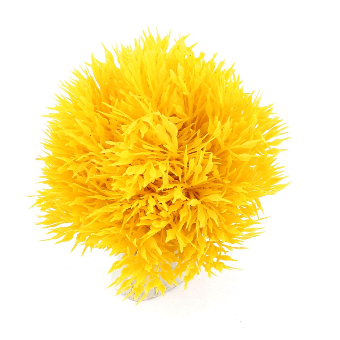 Ceramic Base Underwater Artificial Grass Ball Decor 8cm Dia Yellow