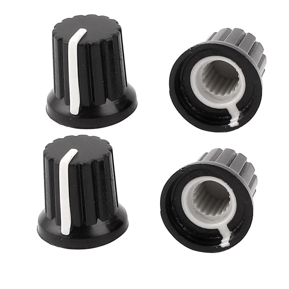 4Pcs Plastic 6mm Hole Dia Light Lamp Dimmer Control Rotary Knob Cap Black
