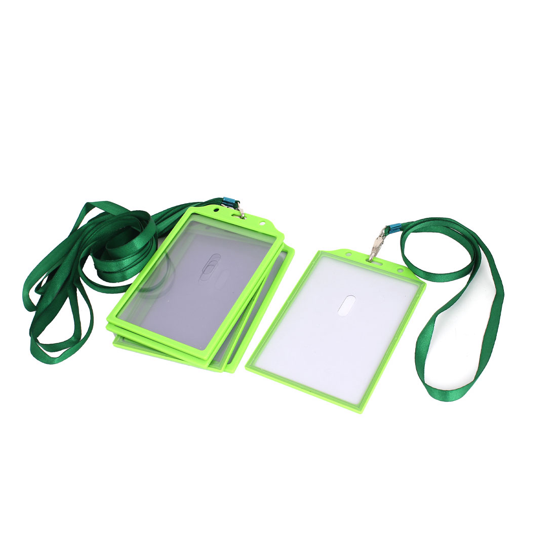 5Pcs Green Plastic Vertical Badge Lanyard ID Card Holder Pouch 8.5 x 11.8cm