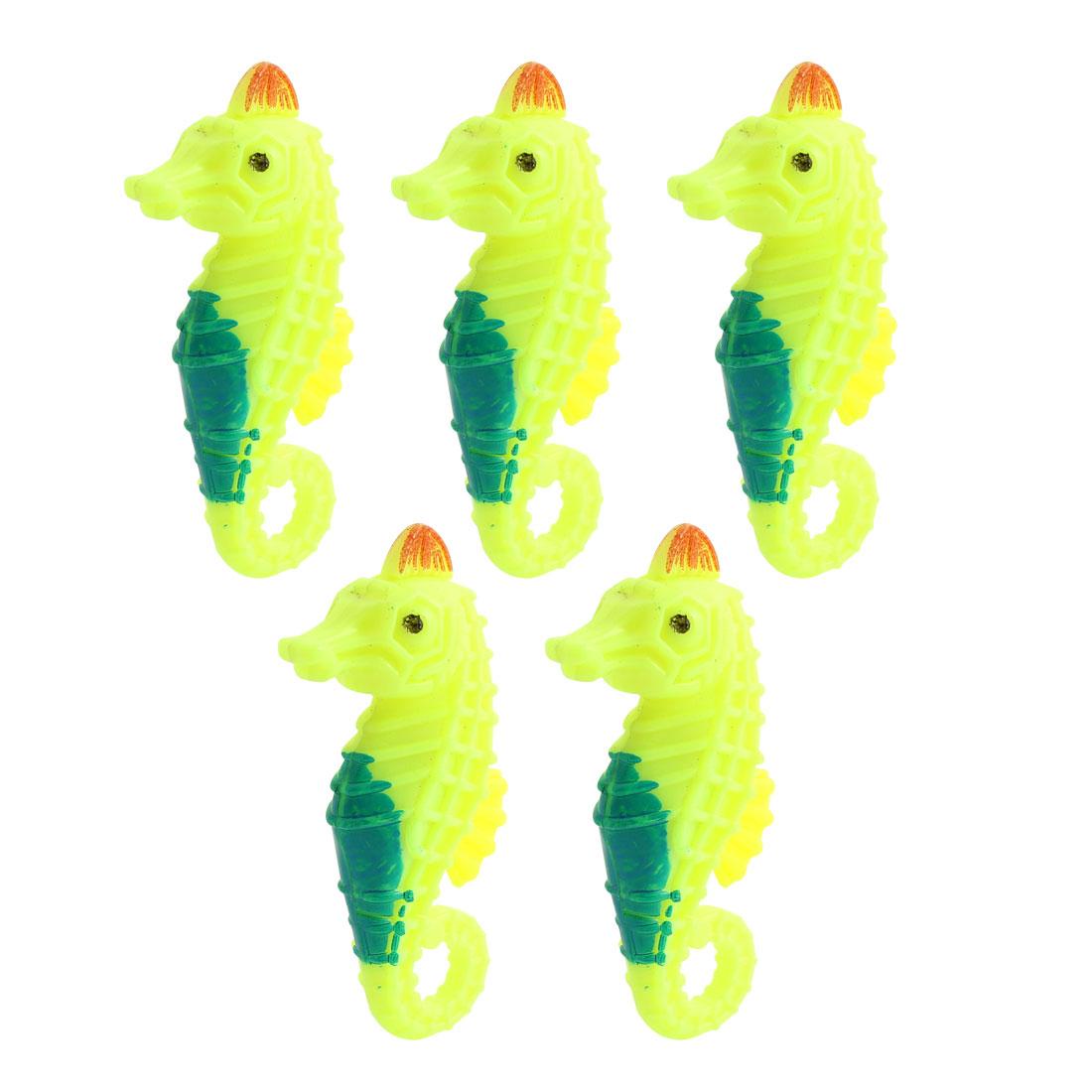 5pcs Green Yellow Emulational Floating Aquatic Seahorse Sea Creature Decor for Aquarium Fish Tank