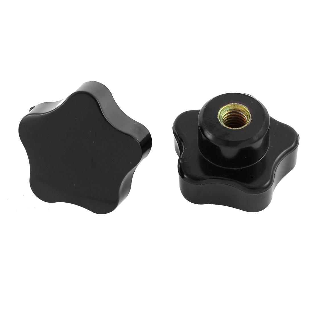 2pcs 7mm Female Threaded Diameter Black Plastic Screw On Type Clamping Star Knob Grip