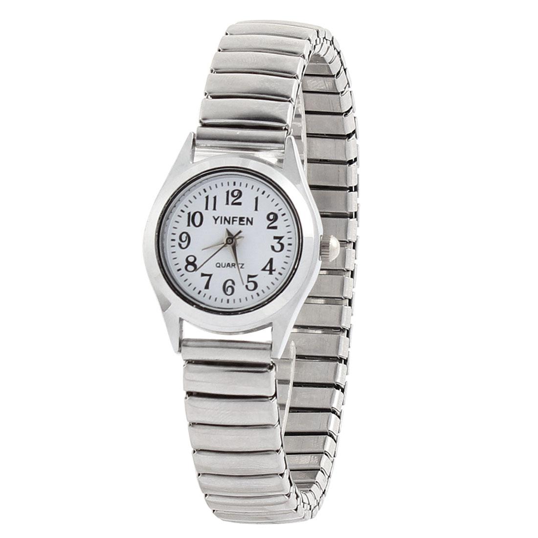 Lady Fashion Arabic Numeral Round Dial Watchcase Elastic Band Metal Wrist Watch