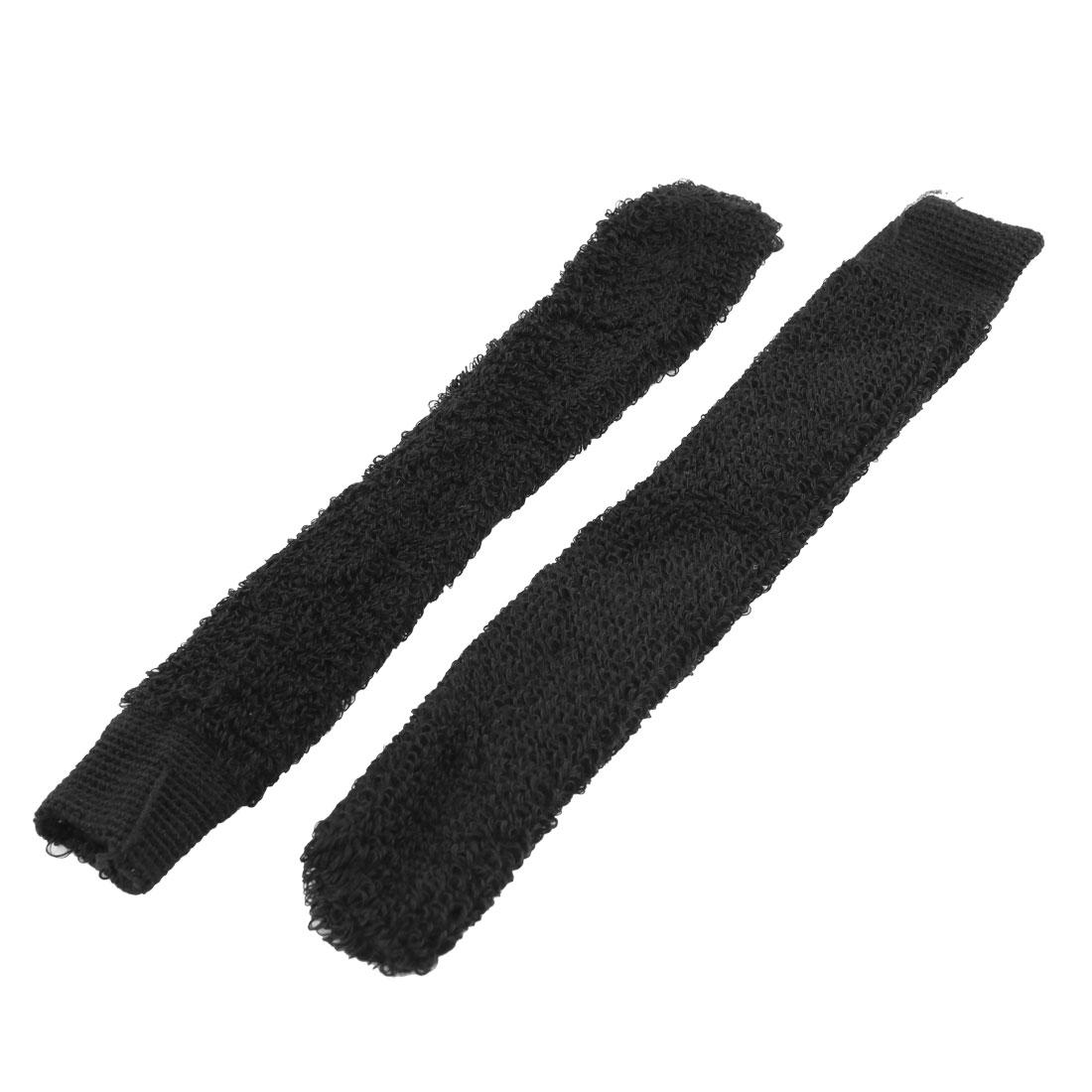 2PCS Black Elastic Terry Anti-slip Badminton Racket Hand Wrap Towel Grip Cover