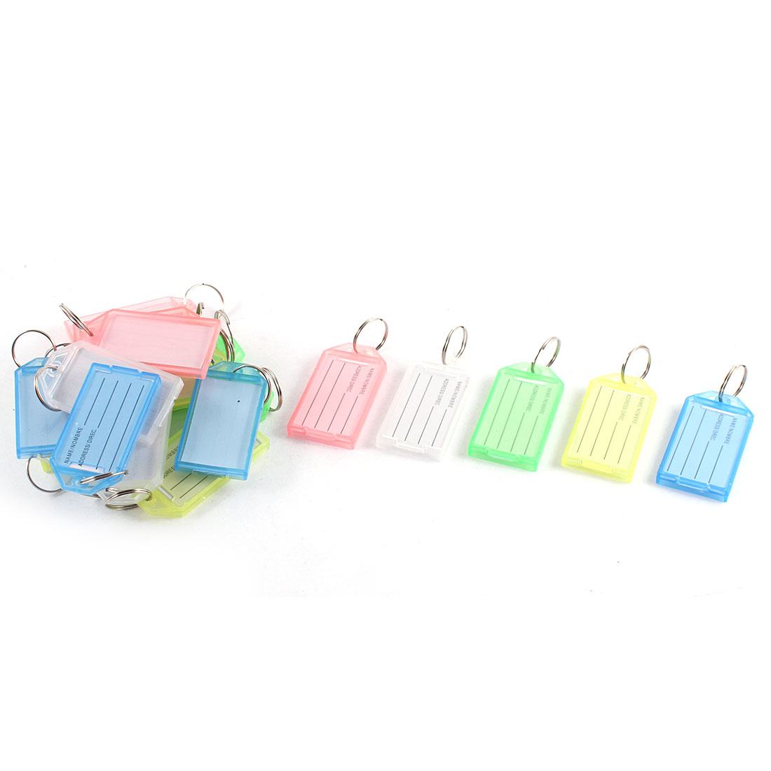20PCS Assorted Color Plastic Key Fobs Luggage ID Tags Name Card Keyring Keychain w Label