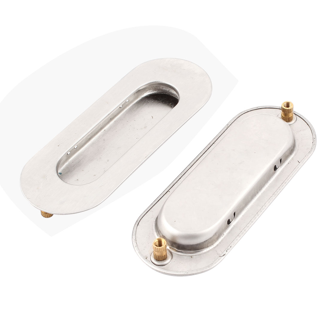 Oval Metal Recessed Drawer Door Flush Pull Handle Hardware 110 x 41mm 2Pcs
