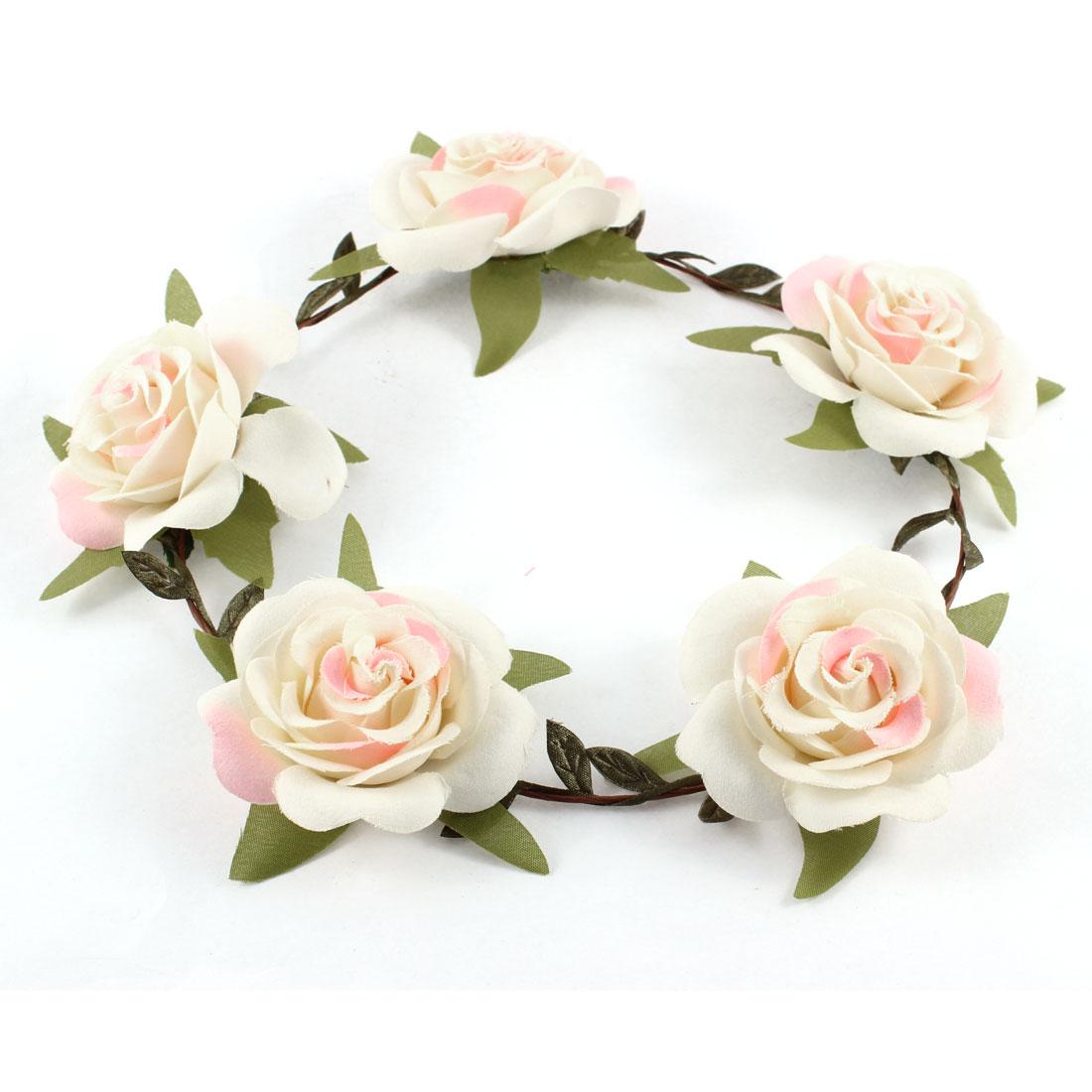 Woman White Flower Headband Head Wreath Hair Accessory