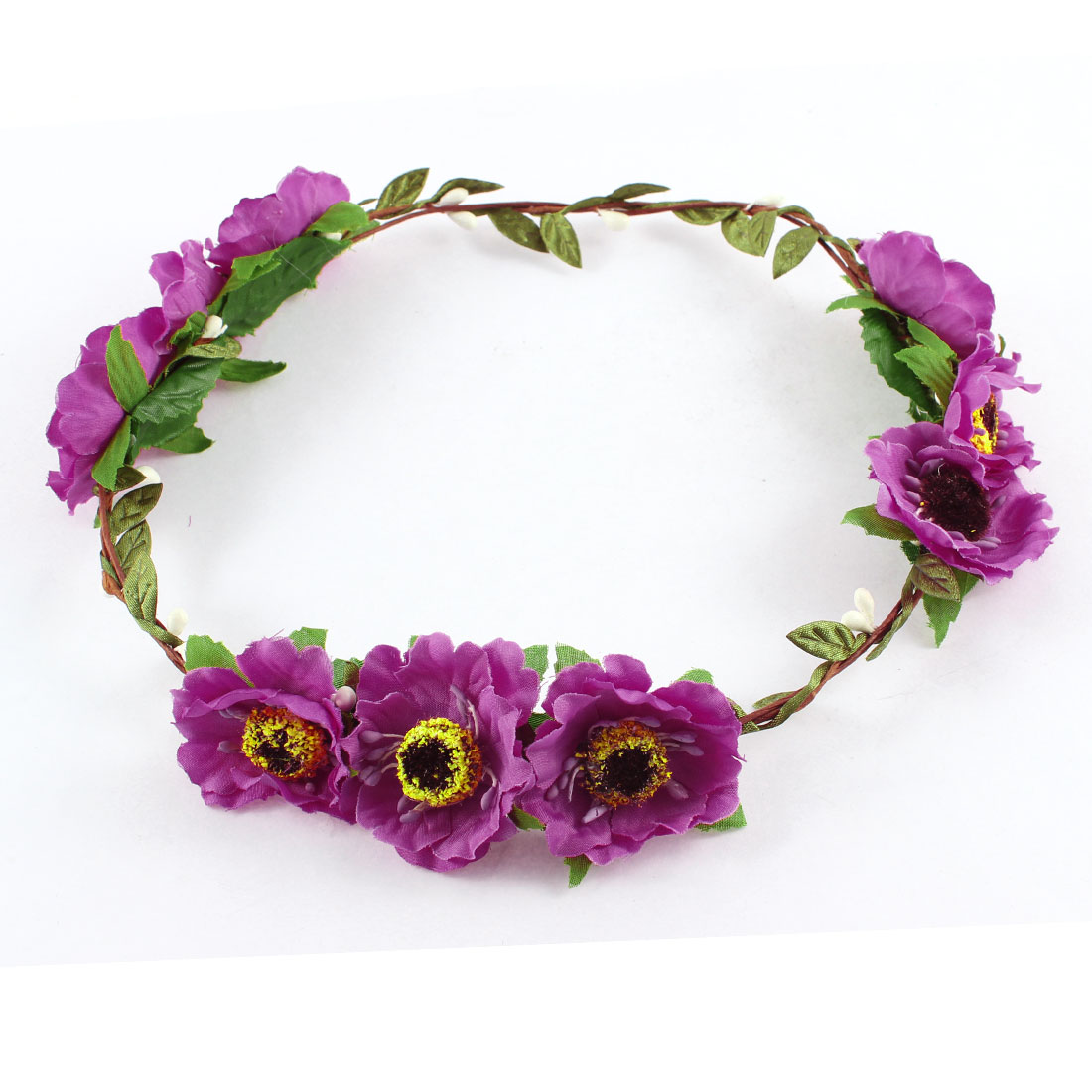 Woman Flower Headband Head Wreath Hair Ornament Violet