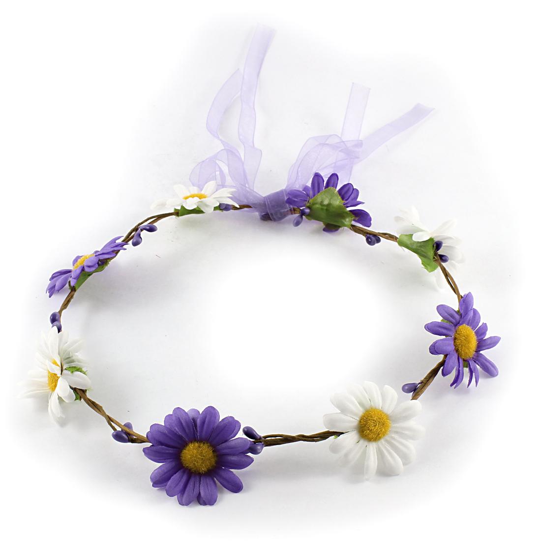 Lady Flower Headpiece Ribbon Floral Garland Bridal Head Wreath
