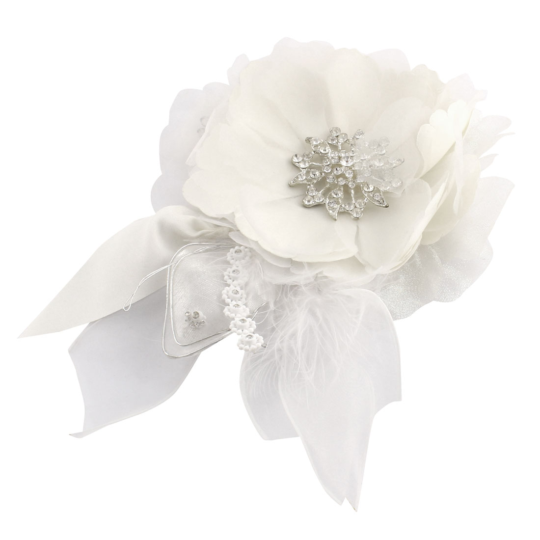 Lady Feather Faux Rhinestone Detail Full Dress Corsage Ivory Color