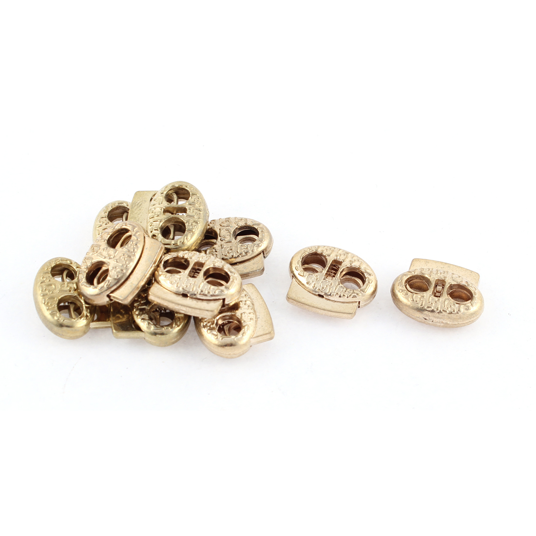 Metal Double Holes Oval Bean Toggle Spring Adjuster Fastener Cord Lock 10 Pcs Gold Tone
