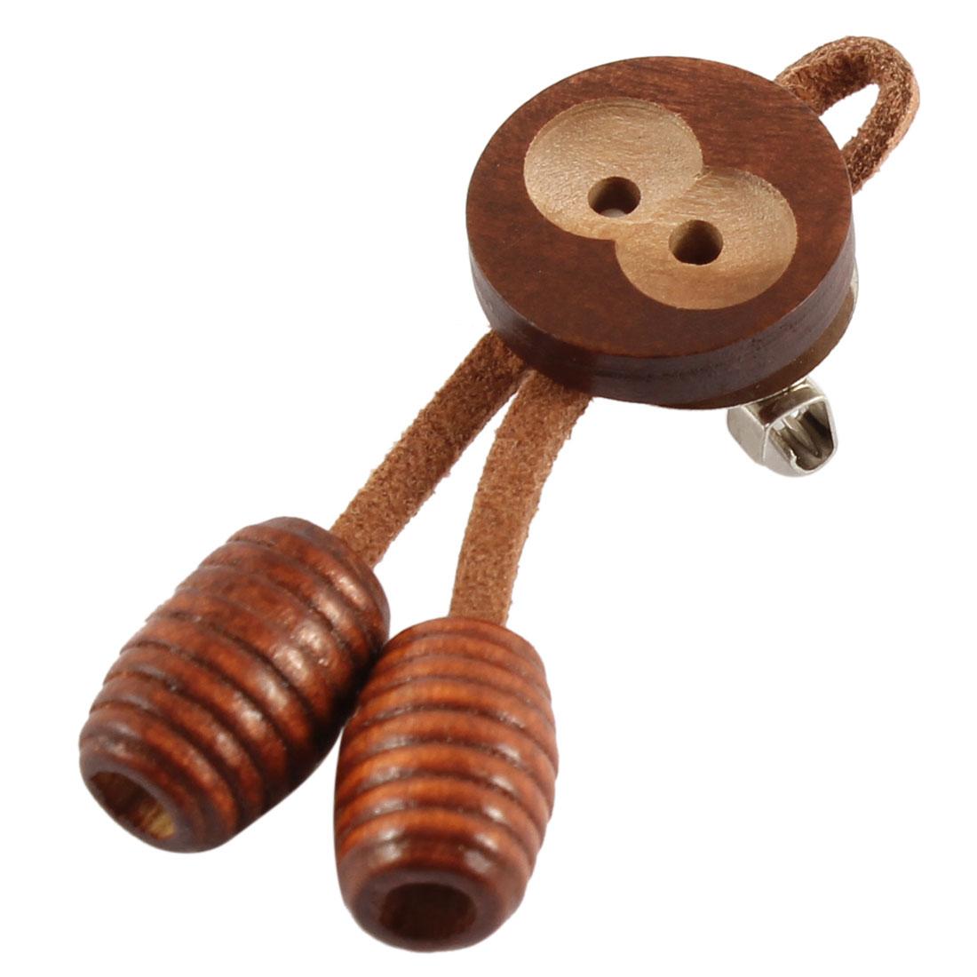 Woman Wood Monkey Design Metal Needle Brooch Pin Coffee Color