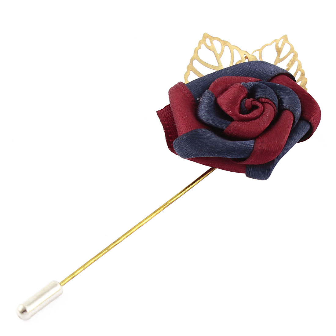 Unisex Polyester Flower Metal Hollow Out Leaves Detail Needle Brooch Pin