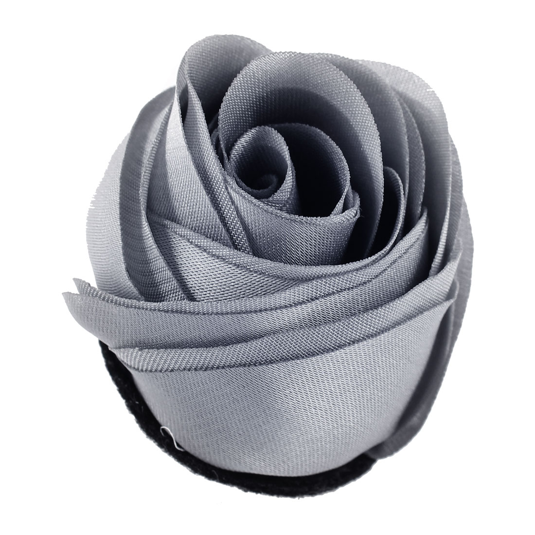 Woman Chiffon Fabric Flower Shape Corsage Brooch Pin Silver Gray