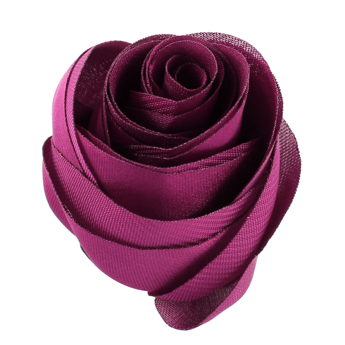 Woman Chiffon Fabric Flower Shape Corsage Brooch Pin Eggplant Color