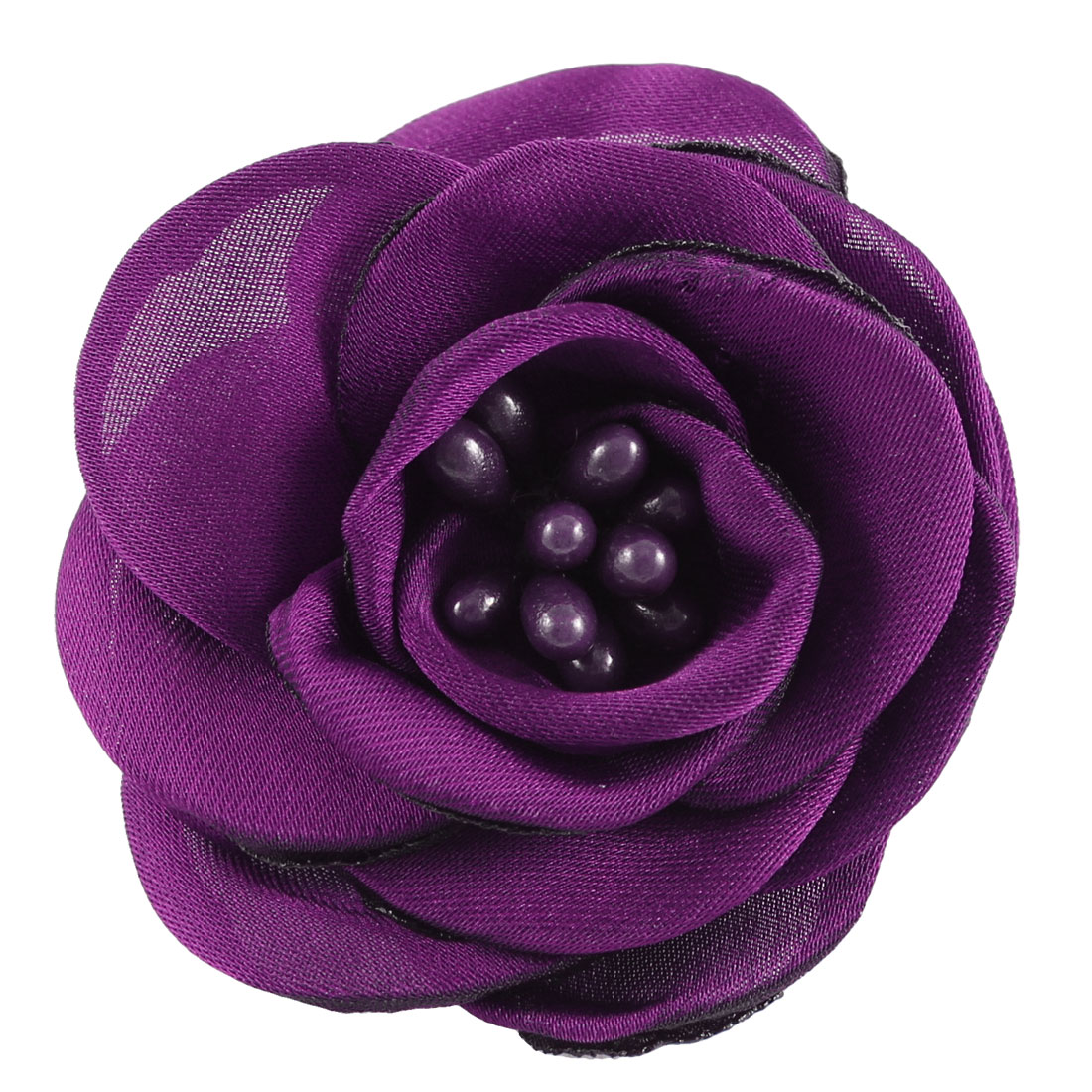 Lady Parties Wedding Fabric Flower Shape Corsage Brooch Pin Purple