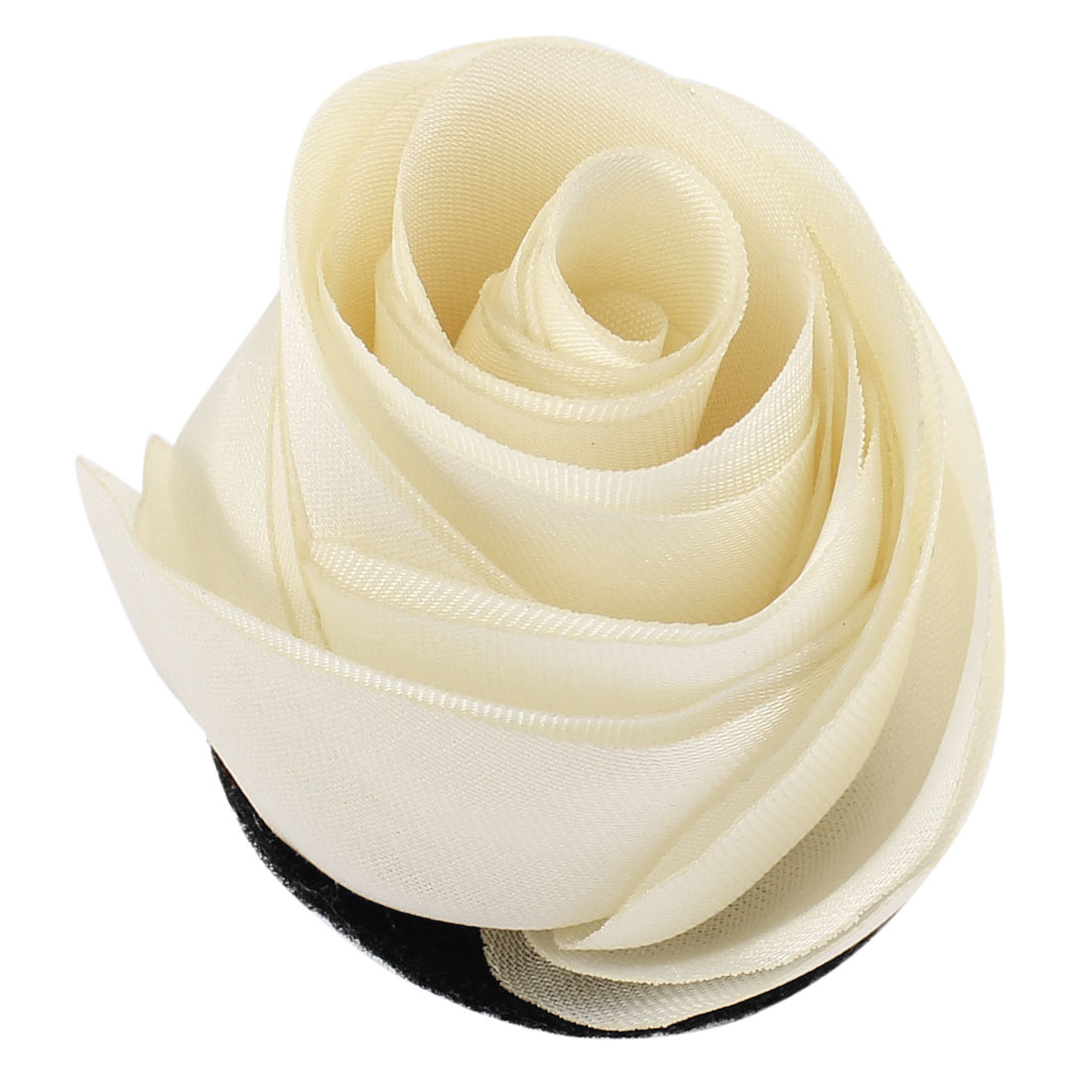 Woman Chiffon Fabric Flower Shape Corsage Brooch Pin White