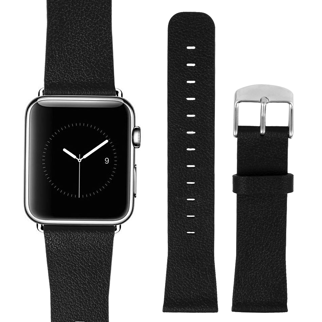 PU Leather Classic Buckle Watchband Strap Black for Apple Watch Sport 38mm