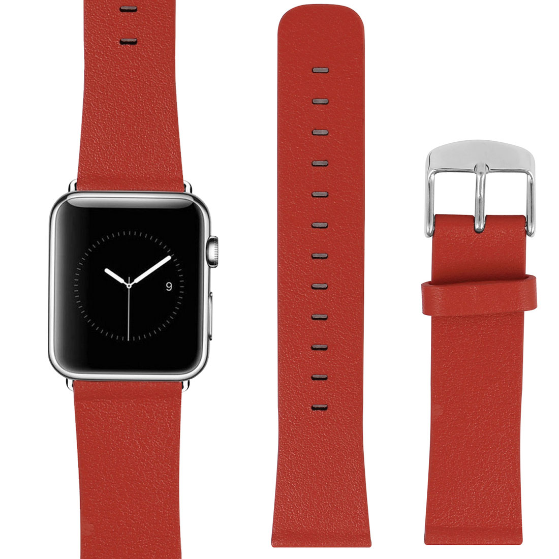 PU Leather Classic Buckle Watchband Strap Red for Apple Watch 38mm