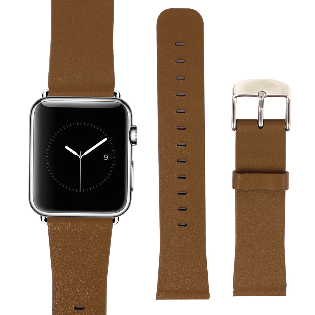 PU Leather Classic Buckle Watchband Strap Brown for Apple Watch Sport 38mm