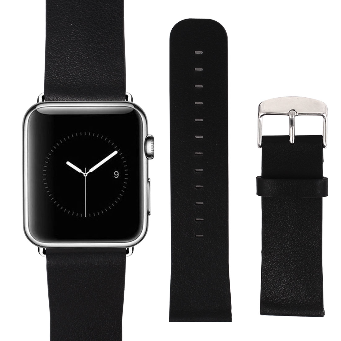 PU Leather Classic Buckle Watchband Strap Black for Apple Watch Sport 42mm