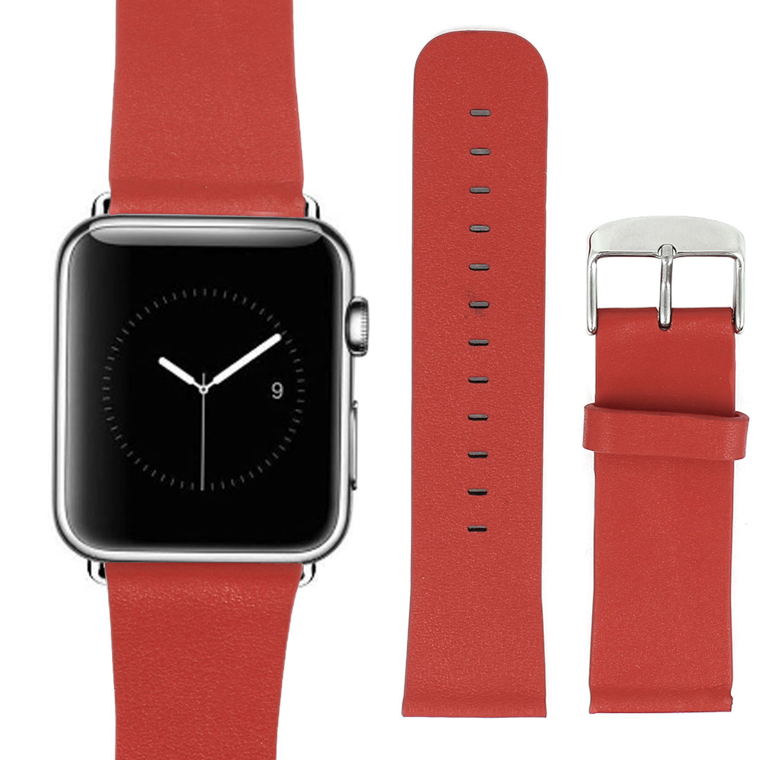 PU Leather Classic Buckle Watchband Strap Red for Apple Watch Sport 42mm