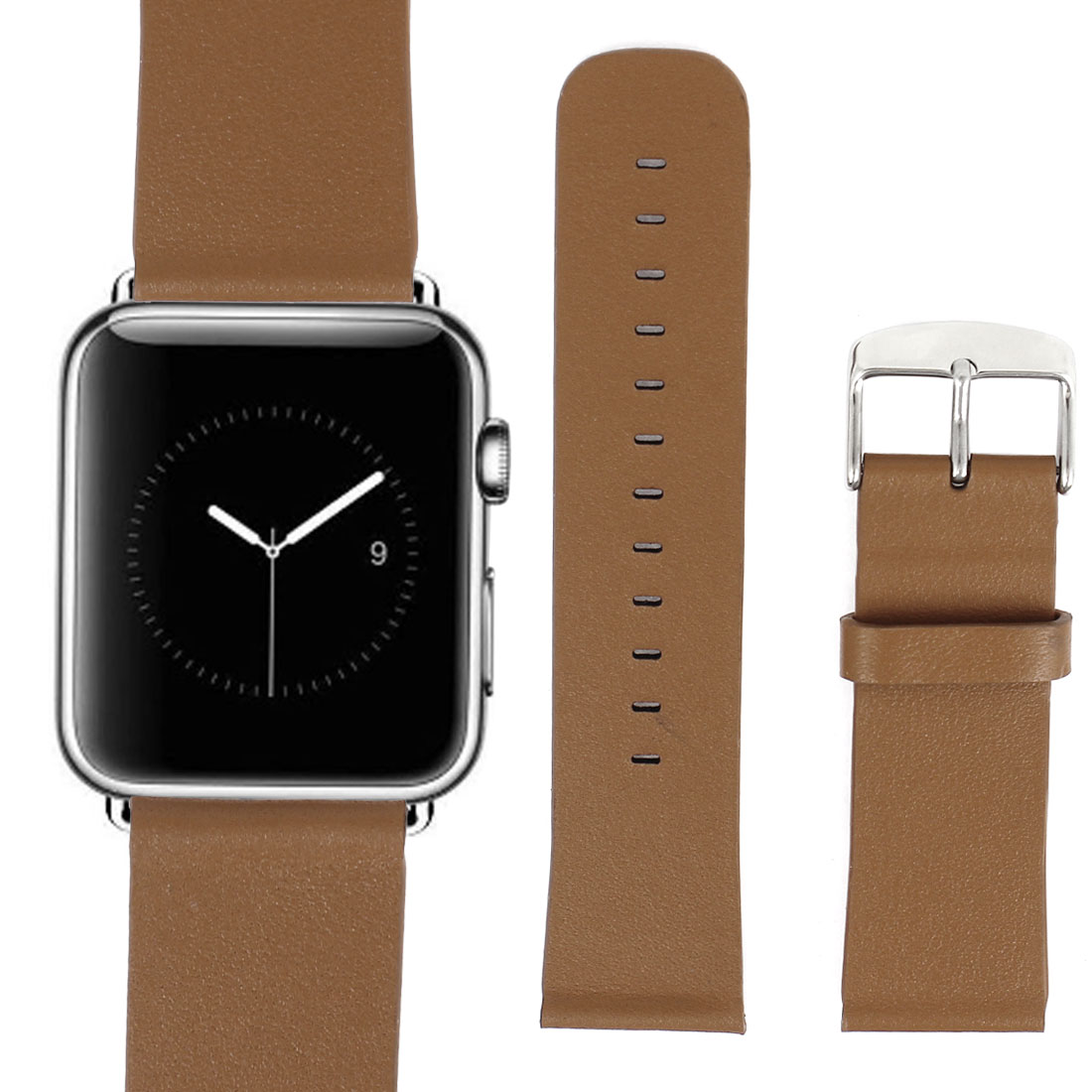 PU Leather Classic Buckle Watchband Strap Brown for Apple Watch Sport 42mm