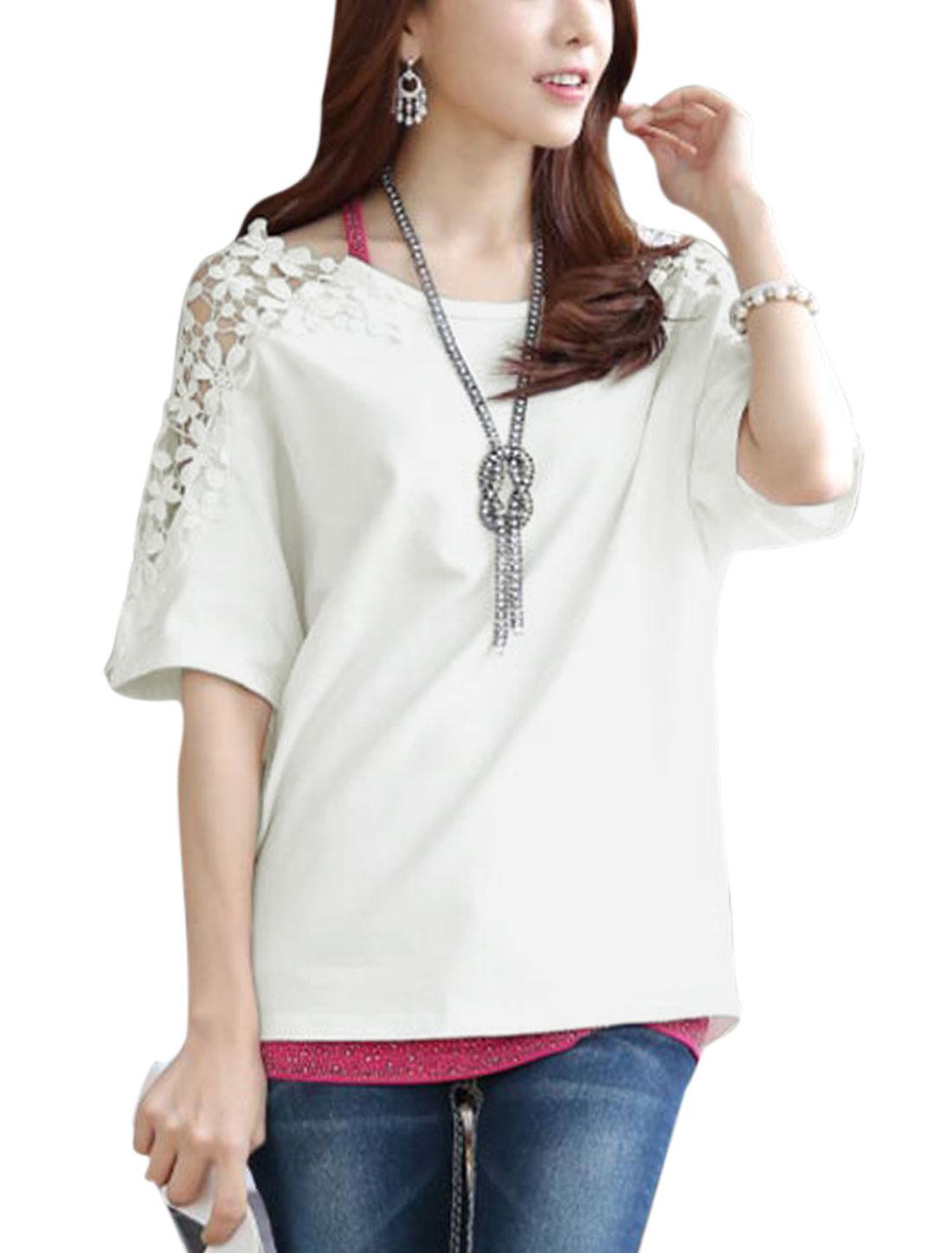 Women Scoop Neck Elbow Dolman Sleeves Crochet Tops White XS