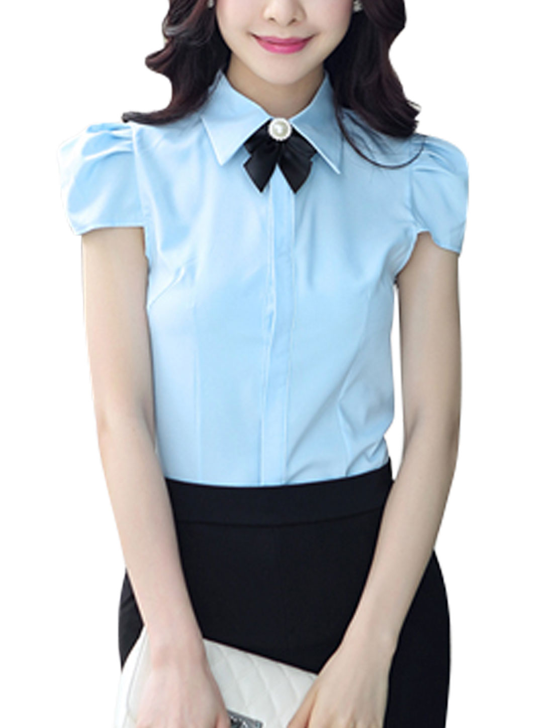 Women Point Collar Cap Sleeves Pleated Detail Button Down Shirts Sky Blue M