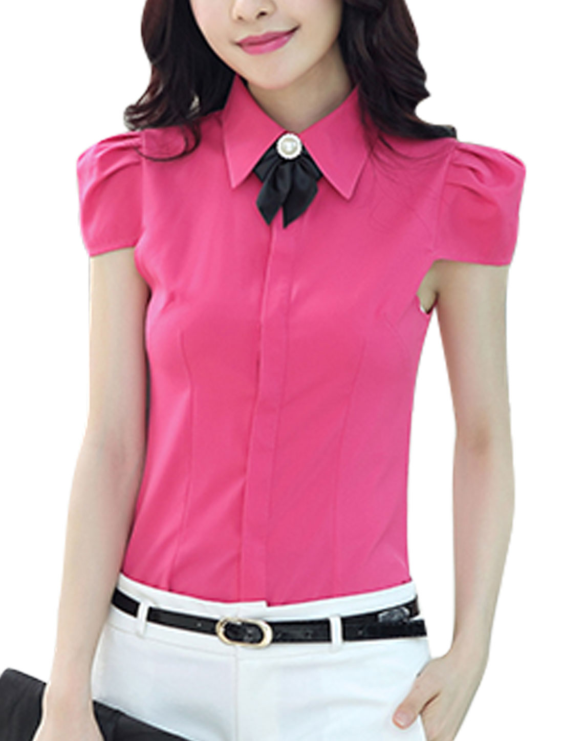 Ladies Point Collar Cap Sleeves Cancealed Button Placket Casual Shirts Fuchsia M