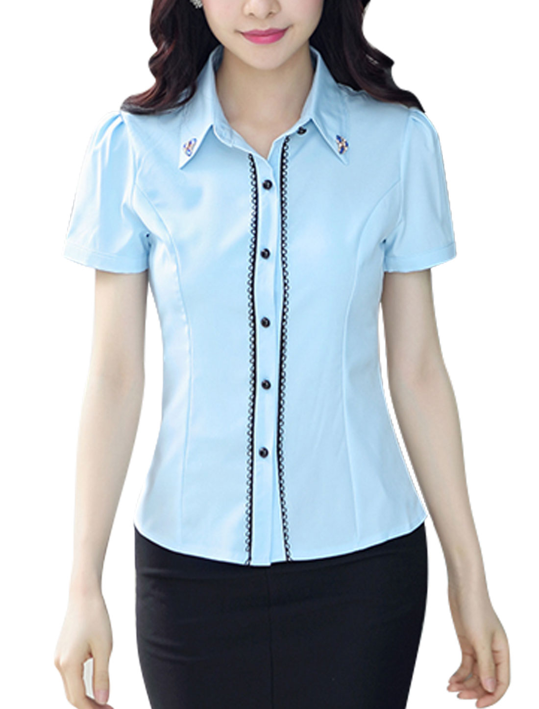 Ladies Short Sleeves Scalloped Trim Button Down Shirts Sky Blue M
