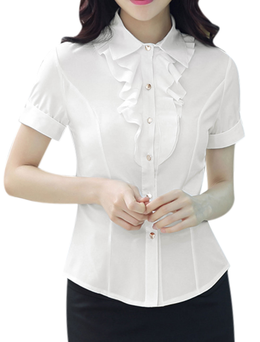 Woman Ruffled Front Rolled Cuffs Turn Down Collar Slim Fit Shirt White M