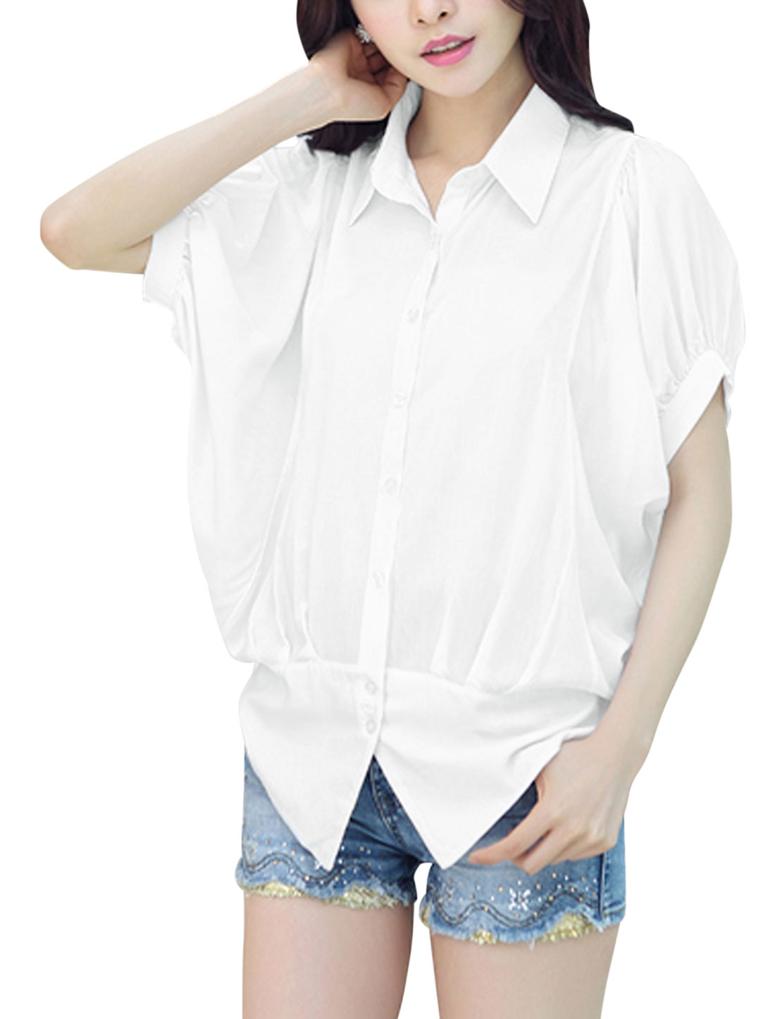 Ladies Button Down Point Collar Batwing Sleeve Ruched Casual Shirt White XS