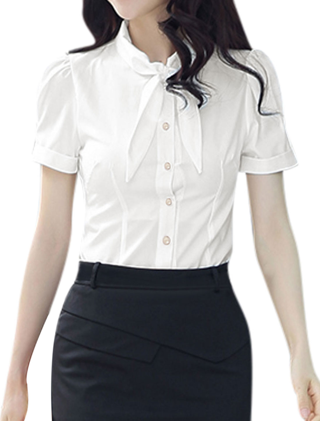 Woman Tie Bow Neck Short Sleeves Button Closure Rolled Cuffs Shirt White M