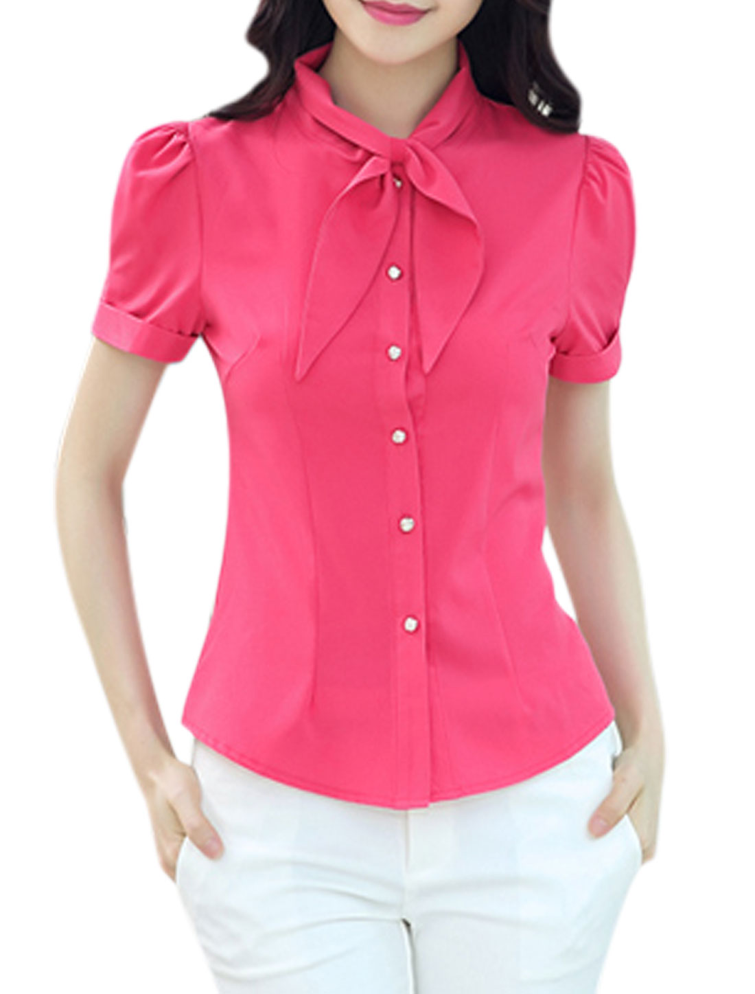 Lady Tie Neck Short Sleeves Button Closure Rolled Cuffs Shirt Fuchsia M