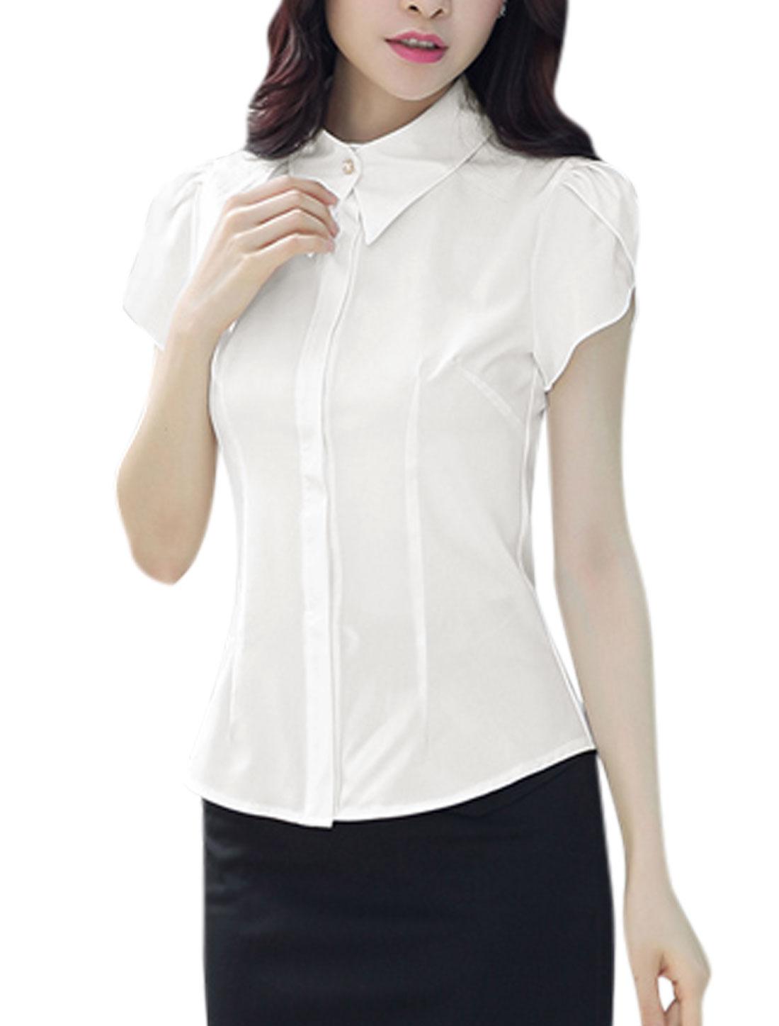 Woman Petal Sleeves Hidden Button Closure Slim Fit Casual Shirt White M
